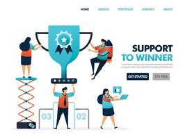 Support to winner to get award and prize. Trophy and certificate for result of teamwork. Help to achieve goal and achievement. Top best ranking get cup. Illustration for website, mobile apps, poster vector