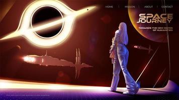 madre e hija están de pie en el observatorio dentro de la nave espacial de la colonia y miran hacia el agujero negro y la flota espacial. vector