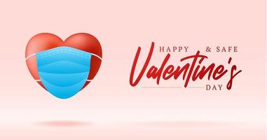 Cute realistic red heart with blue medical mask valentine card banner