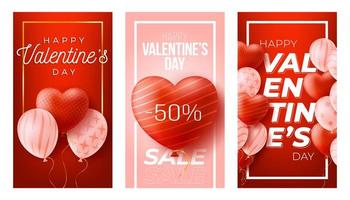 Happy Valentine's Day social media vertical banners set vector