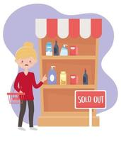 woman customer with market basket sold out shelf food excess purchase vector