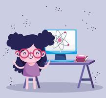 educación en línea, estudiante con computadora y libros en el escritorio vector
