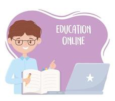 online education, teacher with notebook pencil and laptop vector
