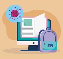 educación en línea, mochila de libros electrónicos para computadora, pandemia de coronavirus vector