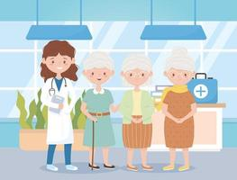 female physician and group grandmothers in hospital, doctors and elderly people vector