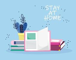 education online, stay at home, stacked books vector