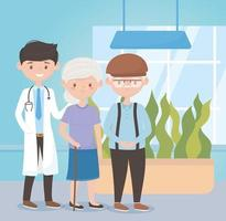 young physician and old couple assistance medical, doctors and elderly people vector