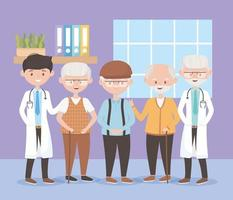 physicians and group grandfathers characters, doctors and elderly people vector
