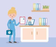 enfermera con estetoscopio e informe médico consulta en línea abuelo, médicos y personas mayores vector
