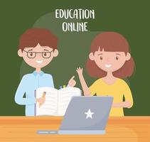 online education, teachers with book pen and laptop in desk vector