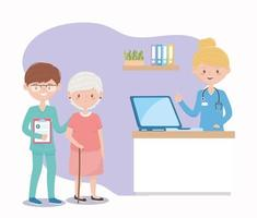 female and male nurses and grandma assistance, doctors and elderly people vector