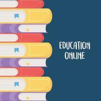 educación en línea, libros apilados de diferente literatura. vector