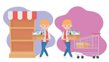 seller guy with boxes supermarket shelf cart food excess purchase vector