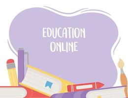 online education, books crayon pen pencil vector