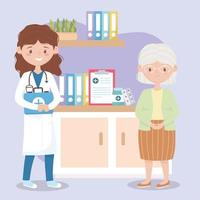female physician with kit first aid and grandmother in room clinic, doctors and elderly people