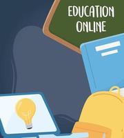 online education, chalkboard laptop backpack book school vector