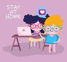 education online, kids students with laptop in desk cartoon vector