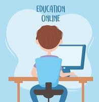 Educación en línea, estudiante sentado en una silla de estudio con vista posterior de la computadora vector