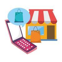 mercado de teléfonos inteligentes bolsas de papel comercio electrónico compras en línea covid 19 coronavirus vector