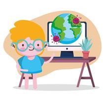 education online, student boy computer world pandemic coronavirus vector