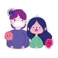 covid 19 coronavirus pandemic, boy and girl wearing prevent mask vector