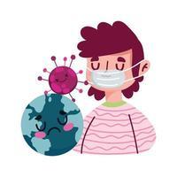 Hombre con mundo de máscara y diseño vectorial de virus covid 19