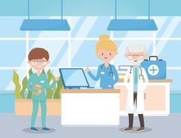 physicians nurse with medical kit in hospital, doctors and elderly people vector