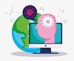 education online, world computer student prevention coronavirus vector