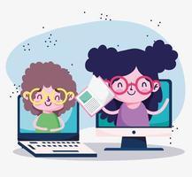 educación en línea, niños estudiantes en video portátil estudian ebook vector