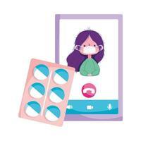 Mujer aislada con pastillas de máscara y diseño vectorial de smartphone