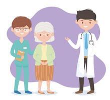 médico enfermera y abuela personajes, médicos y ancianos vector
