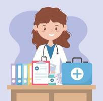 female physician with kit first aid medical report and medicine, doctors and elderly people vector