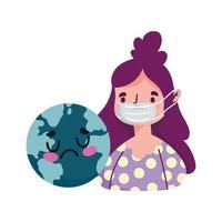 Mujer aislada con máscara y diseño vectorial del mundo enfermo