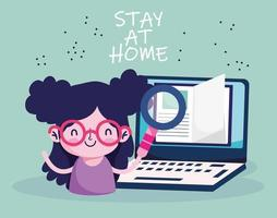 education online, student girl laptop book, stay at home vector