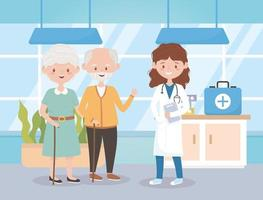 female physician and grandparents in hosptial, doctors and elderly people vector