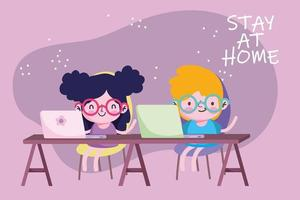education online, stay at home, kids students with laptop study in desk vector