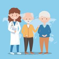 female doctor and grandfathers world, doctors and elderly people vector