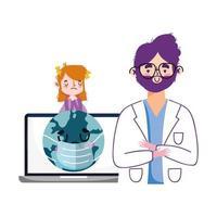 hombre, doctor, mundo, con, máscara, mujer, y, computadora portátil, vector, diseño