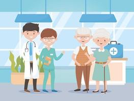 physician nurse and grandparents hosptial, doctors and elderly people vector