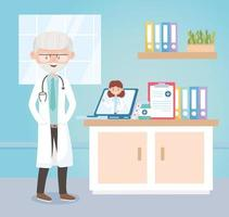 physicians online consult medical , doctors and elderly people vector