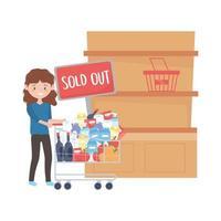 Mujer de compras con estante de carro agotado banner y diseño de vectores de productos