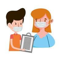 repartidor y cliente con máscara orden comercio electrónico compras en línea covid 19 coronavirus vector