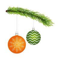 happy merry christmas balls in pine branch