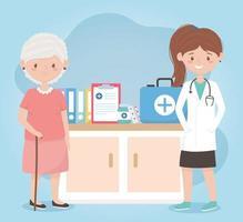 Doctora y abuela con informe médico prescripción de botella de medicina, médicos y ancianos vector