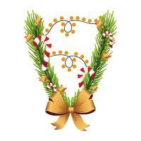 lazo dorado navideño con hojas de pino y luces