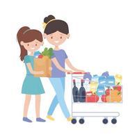 mujeres de compras con carrito y bolsa de diseño vectorial