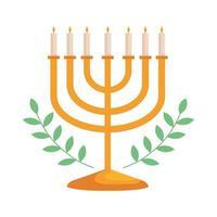 hanukkah chandelier golden and leafs vector