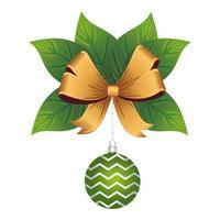 Feliz feliz navidad bola verde con rayas y lazo dorado en hojas