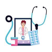 Hombre médico estetoscopio pastillas y diseño vectorial de smartphone