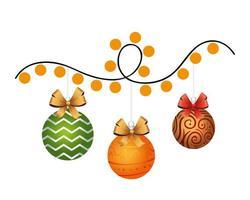 happy merry christmas balls and lights bulbs
